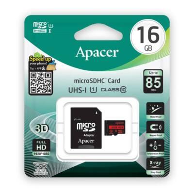 APACER Memóriakártya MicroSDHC 16GB CL10 UHS-I + adapter