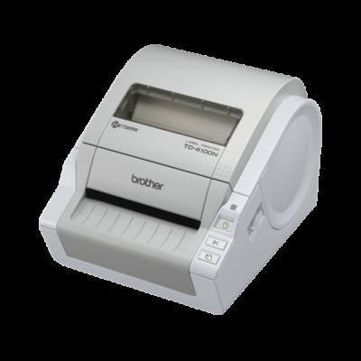 BROTHER Címkenyomtató TD-4100N, 300dpi, 69 címke/perc, LAN/USB, címke: 102mm-ig, P-Touch Editor Lite