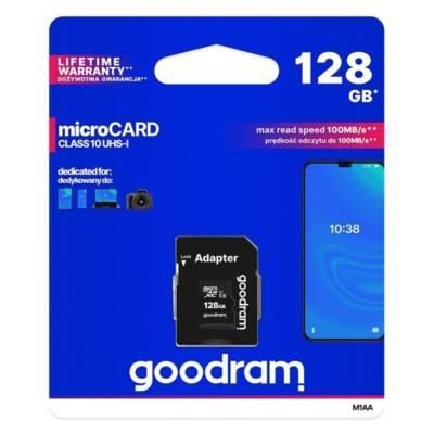 GOODRAM Memóriakártya 128GB MICRO CARD cl 10 UHS I + adapter