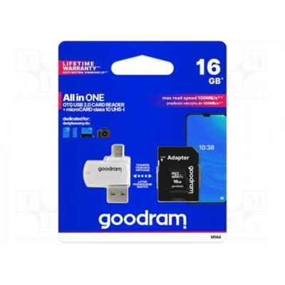 GOODRAM Memóriakártya SDHC 16GB CL10 UHS-I + adapter + OTG kártyaolvasó