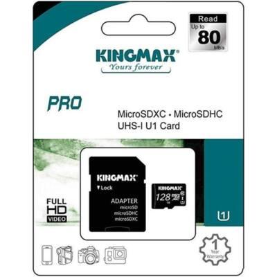 KINGMAX Memóriakártya MicroSDXC Pro 128GB Class 10 UHS1 + adapter