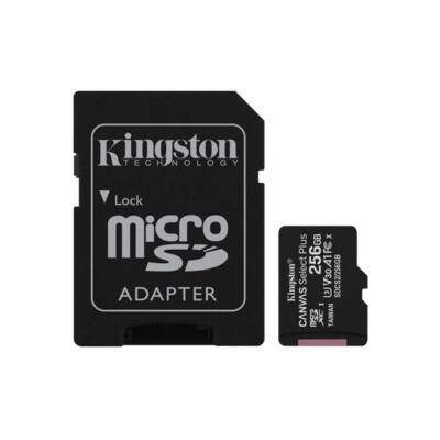 KINGSTON Memóriakártya MicroSDXC 256GB Canvas Select Plus 100R A1 C10 + Adapter