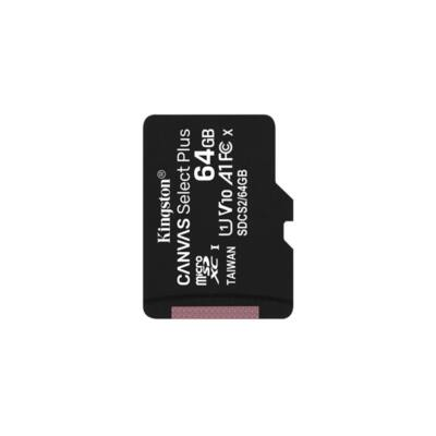 KINGSTON Memóriakártya MicroSDXC 64GB Canvas Select Plus 100R A1 C10 Adapter nélkül