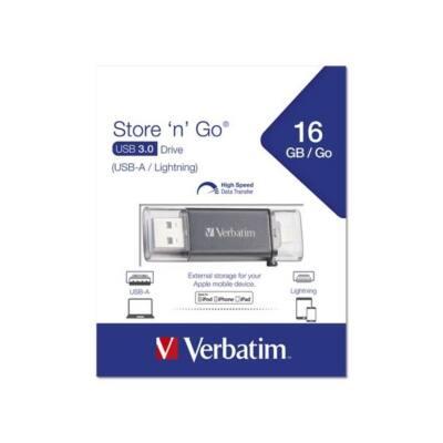 "VERBATIM Pendrive, 16GB, USB 3.0, Lightning csatlakozó, ""Lightning"" grafit szürke"