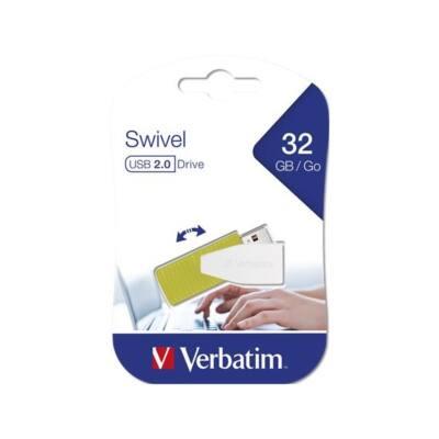"""VERBATIM Pendrive, 32GB, USB 2.0, 8/2MB/sec, """"Swivel"""", zöld"""