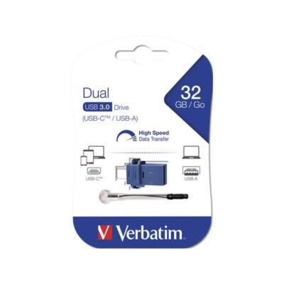 "VERBATIM Pendrive, 32GB, USB 3.0+USB-C adapter, ""DUAL"""