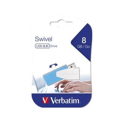 "VERBATIM Pendrive, 8GB, USB 2.0, 8/2MB/sec, ""Swivel"", kék"